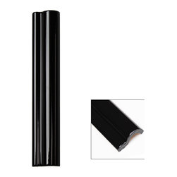 Sample-Piccadilly Noir Polished Ceramic Chair Rail Liners Sample - Sample-Piccadilly Noir Polished Ceramic Chair Rail Liners Sample   Samples are intended for color comparison purposes, not installation purposes.