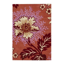 "Amy Butler - Caracas Wool Rug by Amy Butler - Inspired by the warmth and vivacity of the Venezuelan capital, the Amy Butler Caracas Wool Rug features a joyful and life-like floral pattern. This organic motif uses vibrant shades of deep red, burgundy and magenta to infuse a space with passion and romance. The design is hand-tufted out of 100% high quality New Zealand wool.Pattern designer Amy Butler teams up with boutique rug company Chandra to bring her fabric and bedding prints to life in handmade (fair trade and sustainable) rugs. Made from 100% hand-tufted and dyed New Zealand wool, Amy Butler rugs offer both a sense of the exotic and a welcoming ""take your shoes off and stay awhile"" attitude.Chandra area rugs have rapidly become known for tradition, heritage and quality of the handmade Indian rug. Designers Thomas Paul, Amy Butler, and Mary Agan have created a unique collection of area rugs that has become one of the most eclectic, quality lines in the industry.The Amy Butler Caracas Wool Rug is available with the following:Details:High quality, New Zealand woolHand-tufted pileTraffic Meter Level 4Made in IndiaDesigned by Amy ButlerOptions:Size: 2' x 3', 5' x 7'6, or 7'9 x 10'6.Please Note:Some difference in color, size or shape is consistent with the nature of handmade rugs and does not reflect a defect in the product.Shedding is part of the natural wear-in process and is also characteristic of fine wool.Regular vacuuming is a carpet's best friend. A suction only canister vacuum is best, if not available set the vacuum so the brush is farthest away from the surface of the carpet to prevent excess pilling and fuzzing on loop piles.Blot spills immediately with a clean, absorbent cloth. Scoop up solids.Clean regularly by a certified professional cleaner.Shipping:This item ships in approximately 2 business days."