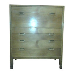 Used John Stuart Janus Collection Tall Dresser - This Mid-Century John Stuart Janus Collection walnut tall dresser is great for a small bedroom that needs some help on the storage front. The classic and simple design allow it to look great in a wide range of environments. This piece is in good vintage condition with some wear due to age and use.