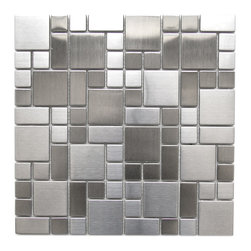 Eden Mosaic Tile - Cobble-Pattern Stainless Steel Mosaic Tile - Inspired by the antique cobblestone streets of Europe this metal mosaic stainless steel tile features three different sizes of tile including a large square small square and medium brick. This tile is ideal for stainless steel kitchen backsplashes, accent walls, bathroom walls, and bathroom back splashes. The tiles in this sheet are mounted on a nylon mesh which allows for an easy installation. Imported.
