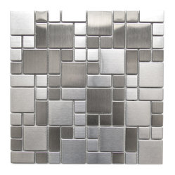 Modern Cobble Pattern Stainless Steel Mosaic Tile Sample