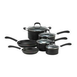 "T-Fal/Wearever - T-Fal Pro Thermo-Spot 10 Pc. Set - T-Fal Professional Thermo-Spot - Non-Stick Exterior - Nonstick Interior - Glass Covers - Riveted Silicone Stay Cool Handles - Stainless Steel Base.  8"" & 10.25"" fry pans, 1, 2 & 3 qt. covered sauce pans, 5qt. covered Dutch oven."