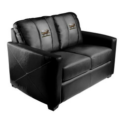 Dreamseat Inc. - Elk - Bugling Xcalibur Leather Loveseat - Check out this incredible Loveseat. It's the ultimate in modern styled home leather furniture, and it's one of the coolest things we've ever seen. This is unbelievably comfortable - once you're in it, you won't want to get up. Features a zip-in-zip-out logo panel embroidered with 70,000 stitches. Converts from a solid color to custom-logo furniture in seconds - perfect for a shared or multi-purpose room. Root for several teams? Simply swap the panels out when the seasons change. This is a true statement piece that is perfect for your Man Cave, Game Room, basement or garage.