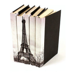 Image Collection Books -  Eiffel Tower - Set of 5 - You can, indeed, judge a book by its cover. A visually striking set of decorative tomes, the Image Collection Books - Eiffel Tower - Set of 5  make an impressive graphic statement when placed upon a shelf in an eclectic great room, a window ledge in a home office, a fireplace mantel embellished with objets d'art, or glass-fronted armoire in a personal library.