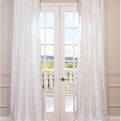 Half Price Drapes - Whisper White 96 x 50-Inch Dupioni Silk Curtain Single Panel - Beautiful dupioni silk drapes exquisitely made for you. A timeless style that will work in any home dandeacute;cor. These panels offer a 3 in one header for multiple hanging style. As a general rule for proper fullness panels should measure 2-3 times the width of your window/opening.  - Top Pocket Construction: Pole Pocket  - Lined  - Sold Per Panel  - 100% Silk  - 3-Inch Pole Pocket with Hook Belt  - Care Instructions: Dry Clean Half Price Drapes - CID-CD001-96