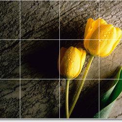 Picture-Tiles, LLC - Flower Picture Mural Tile F376 - * MURAL SIZE: 32x48 inch tile mural using (24) 8x8 ceramic tiles-satin finish.