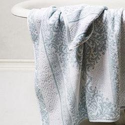 "Anthropologie - Palladian Damask Towel - CottonMachine washWashcloth: 13"" squareHand towel: 28""L, 18""WBath towel: 54""L, 28""WImported"