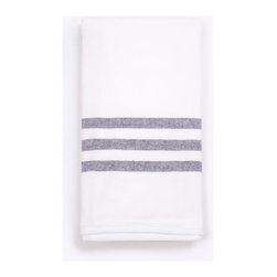 Super Soft Bath Towel, Aqua with Ecru Stripes, Terry-Lined, White W/ Navy Stripe - The Super Soft Bath Towel is  ideal for the home, pool or beach. It has a flat woven weave and a striped front combined with a soft terry cotton lining. Thie towel is pure bliss and a Turkish-T exclusive.
