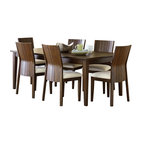 """Steve Silver Furniture - Steve Silver Harlow 8-Piece Rectangular Dining Room Set in Tobacco and Cherry - Western style meets Eastern influence with the contemporary Harlow Dining Collection. The Harlow Dining table has a 60"""" x 60"""" surface that expands to 60"""" x 78"""" with the included 18"""" leaf."""
