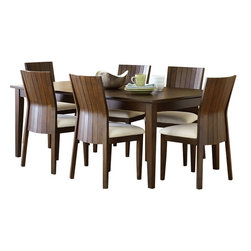 "Steve Silver Furniture - Steve Silver Harlow 8-Piece Rectangular Dining Room Set in Tobacco and Cherry - Western style meets Eastern influence with the contemporary Harlow Dining Collection. The Harlow Dining table has a 60"" x 60"" surface that expands to 60"" x 78"" with the included 18"" leaf."