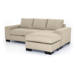 Apt2B - Melrose Revers. Sectional Chaise, Woven Beach, 93x39x27 - This collection has the hottest look around right now! With stylish wide track arms and a low-rise design, the Melrose Collection will most definitely add a lot of look to your living room. The best part about it: the chaise ottoman can be moved to either side of the sofa. Very cool for those of us that rearrange furniture often or move a lot. Upholstered in a soft, textured poly-blend fabric. Made in the USA!