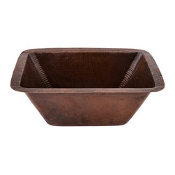 """Premier Copper Products - Premier Copper Products BRECDB3 17"""" x 12"""" Rectangular Hammered Copper Prep Sink - Uncompromising quality, beauty, and functionality make up this Premier 17"""" x 12"""" Rectangular Hammered Copper Bar/Prep Sink with a 3.5"""" Drain Opening. Will support garbage disposal."""