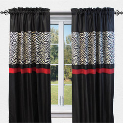 Sherry Kline - Sherry Kline True Safari Black 84-inch Curtain Panel Pair - Add a sexy twist and dress up the windows with this attractive curtain panel pair. This piece features multiple solid colors with solid backing and a wild animal zebra print design to choose the perfect look for any window in any room decor.