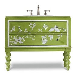 "Cole & Co. - Cole & Co. 39"" Designer Series Tessa Sink Chest - Spring Green - Cole & Company combines great design with great flexibility, allowing you to mix and match size, finish, and style to create your own perfect bathroom vanity. The Tessa brings a touch of renewal to any season with its Spring Green burnished finish with soft floral accents and turned legs. Featuring one functioning drawer with whimsical bubbled glass knobs. Individually handmade of select poplar solids and birch veneers.Cole & Co. has offered its famous Designer Series since 1998 and is among the most popular and well-known is the US. Featured is almost every major design and interiors magazine, each handcrafted furniture piece in the Designer Series has the back cut out by hand for plumbing and sink installation and door or drawers configured to retain usefulness and storage capabilities. Designer Series vanities come with the wooden tops as shown to replicate a fine piece of furniture much the same way fine antiques have been converted as vanities in this way for years. Each piece is thoughtfully configured for ease in plumbing installation.When purchasing Cole & Co. vanities, you will have peace of mind that you're choosing furnishings of enduring quality. Caring craftsmen pay attention to every detail such as: All drawers include wood-on-wood glides for smooth, efficient operation, and all touching drawer guide parts are waxed for smooth and quiet operation; Strength and durability are supplied by mortise and case construction reinforced with glue and metal fasteners; Solid lumber and select wood veneers are carefully chosen to permit consistent finishing as use of veneers enables more decorative looks unattainable with solid wood. Veneers, which are used only on flat surface areas such as the case tops and sides, also add weight, strength and dimensional stability; and lastly, Up to 30 finishing steps, including 13 steps of hand-sanding and accenting are used with physical distressing done by hand to insure an authentic, antique look. In addition, all items receive two to three full coats of catalyzed lacquer for extra depth and durability and a final top coat of nitrocellulose to help protect it from wear, water and light.Your Cole & Co. quality vanity is a significant investment expected to last for generations. To maintain its beauty and help it last, please refer to the Designer Series product information sheet and the Care & Cleaning FAQ. Each piece is handmade and finished and actual color may vary. Features: Completely hand madeSelect poplar solids and birch veneersFeatures one functioning drawer with whimsical bubbled glass knobs39-3/4""W x 18""D x 33""HFaucet(s) not includedSink(s) not included Ships with wooden topPlease confirm sink measurements will work prior to ordering. Cole & Co. can custom cut your vanity for countertops and faucets. Please contact us for details.No assembly required How to handle your counter"