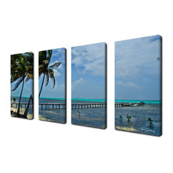 Ready2HangArt - Ready2hangart Chris Doherty 'Maya Coast' 4-piece Canvas Wall Art - The 'Maya Coast' 4-piece canvas art set depicts an aged wood dock over lone waters with palms at the beach brisked by wind. This 4-piece canvas art set features a tropical theme and is gallery-wrapped canvas for a contemporary look.