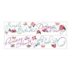 """RoomMates Peel & Stick - Princess Quotes Wall Decals - Bring the enchantment of the Disney Princess characters to your little girl's room with these beautiful phrases wall decals. Featuring sayings like """"once upon a time"""" and """"dreams do come true,"""" these decals will be a wonderful addition to the room of your own little princess! And since RoomMates are completely reusable, these gorgeous stickers can be moved and repositioned as many times as you please."""