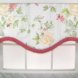 RLF HOME - Floral Ruffled Cornice Valance - This valance features a contemporary floral design in delightful tones of clay, peach and green. This valance is finished with a bias cut French pleated ruffle at the bottom edge.
