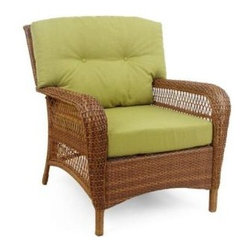 Martha Stewart Living - Charlottetown 2012 Brown All-Weather Wicker Patio Lounge Chair, Green Bean - A couple of these wicker chairs will give you a great place to sit and listen to the water and watch the birds. The green cushions are nature's color and will blend in splendidly.
