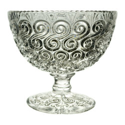 Lavish Shoestring - Consigned Pressed Glass Serving Stem Bowl w/ Scroll Decorations, English Victori - This is a vintage one-of-a-kind item.