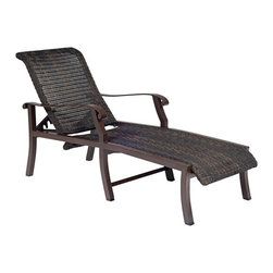 Woodard - Woodard Cortland Woven Adjustable Chaise Lounge Multicolor - 5V0470 - Shop for Chaise Lounges from Hayneedle.com! Grab your favorite book and a cold drink and relax outdoors on the beautiful modern Woodard Cortland Woven Adjustable Chaise Lounge. Impeccably made the frame of this chaise lounge is constructed using only the heaviest strongest and highest-grade aluminum ingots. Rust-proof and made to last this gorgeous chaise lounge comes in your choice of rich stain-resistant finishes that have been baked-on for durability. Its gorgeous weather-resistant hand-woven resin wicker seat and back blend in beautifully with the natural beauty of your backyard making this chair the perfect complement to any decor. Whether relaxing with friends or by yourself this chaise lounge chair will beckon you outdoors to enjoy the sun and peaceful atmosphere of your backyard. Made from the finest materials available this chaise lounge will provide luxurious comfort and unparalleled style for years to come.Woodard: Hand-crafted to Withstand the Test of TimeFor over 140 years Woodard craftsmen have designed and manufactured products loyal to the timeless art of quality furniture construction. Using the age-old art of hand-forming and the latest in high-tech manufacturing Woodard remains committed to creating products that will provide years of enjoyment.Superior Materials for Lasting DurabilityEach piece in the Classics Collection is hand-formed using solid wrought iron stock: the heaviest available. The technique used to create Woodard wrought iron furniture has been handed down from generation to generation. To this day expert workers use anvils and hammers to forge intricate detail in the iron.In the Aluminum Collections Woodard's trademark for excellence begins with a core of seamless virgin aluminum: the heaviest purest and strongest available. The wall thickness of Woodard frames surpasses the industry's most rigid standards. Cast aluminum furniture is constructed using only the highest grade aluminum ingots which are the purest and most resilient aluminum alloys available. These alloys strengthen the furniture and simultaneously render it malleable. The end result is a fusion of durability and beauty that places Woodard Aluminum furniture in a league of its own.All Seasons Outdoor Wicker is the latest addition to the Woodard line of quality furniture. Each piece is constructed using cutting-edge synthetic fibers hand-woven over an aluminum frame. With this combination of resilient weather-resistant materials and Woodard's quality workmanship All Seasons Wicker will retain its beauty and integrity for years.Fabric Finish and Strap Features All fabric finish and straps are manufactured and applied with the legendary Woodard standard of excellence. Each collection offers a variety of frame finishes that seal in quality while providing color choices to suit any taste. Current finishing processes are monitored for thickness adhesion color match gloss rust-resistance and and proper curing. Fabrics go through extensive testing for durability and application as well as proper pattern weave and wear.Most Woodard furniture is assembled by experienced professionals before being shipped. That means you can enjoy your furniture immediately and with confidence.Together these elements set Woodard furniture apart from all others. When you purchase Woodard you purchase a history of quality and excellence and furniture that will last well into the future.