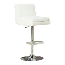 Monarch Specialties - Monarch Specialties Contemporary Swivel Barstool w/ Hydraulic Lift in White, Chr - With its alluring and unique shape and sleek leather-look upholstery, this 2 piece white bar stool set brings an undeniable sense of style to a practical piece. The metal chrome finish of the steel frame and square shaped foot rest beautifully accentuate any decor. And thanks to an adjustable height and a complete swivel, you can customize your seating to your liking. What's included: Barstool (can only be purchased in sets of 2).