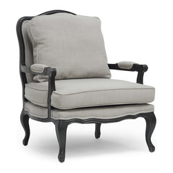 """Baxton Studio - Baxton Studio Antoinette Classic Antiqued French Accent Chair - Relax in the lap of luxury. The Antoinette French Living Room Chair has all the fixings of exquisite old-world French detail: scalloped and scrolled wood trim, padded armrests, and distressed wood, complete with the finish rubbed off on the edges. A black rubberwood frame flanks comfortable foam cushions encased in neutral gray-beige linen upholstery. A removable backrest cushion is also included. We recommend exclusively spot cleaning. The Antoinette Designer Arm Chair is made in China and requires assembly. Seat dimension:19"""" H x 26"""" W x 28"""" D"""