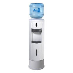 Avanti - Hot & Cold Water Dispenser - Avanti WD363P Hot and Cold Water Dispenser with Pedestal - Features: Lightweight durable plastic body. Contemporary styling. Push button faucets for cold and hot water. Child safety guard on hot water faucet. LED light indicators for cold and hot water. Large stainless steel reservoir for water purity. Large capacity cold water reservoir. Adjustable height. Removable drip tray. Detachable leveling leg. Cup dispenser (optional). Water bottle not included - uses 3 or 5 gallon bottle. ADA compliant.