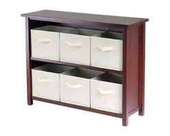 Winsome Wood - Two Shelf Wood Cabinet w Six Beige Storage Ba - * Verona Collection. Walnut finish unit. Beige color baskets. Wood Unit. Fabric baskets. Assembly required. Shelf Unit: 39 in. L x 13 in. W x 30 in. H, 26 lbs. Basket: 10.97 in. L x 10.06 in. W x 9 in. H. 1.2 lbs