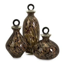 Imax - iMax Peverelle Glass Bottles with Stoppers - Set of 3 X-3-20036 - The Peverelle Glass Bottles are made of hand blown glass in a mottled spectrum of neutral colors and topped by sophisticated ring stoppers.