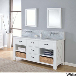 Direct Vanity Sink - Xtraordinary Spa Premium 70-inch Pearl Double Vanity Sink Cabinet - Plentiful storage space lines the bottom of this double sink vanity,making it easy to store toiletries,towels,decorative accents and more. Finished in pearl white,this chic 70-inch cabinet features your choice or marble or granite top.