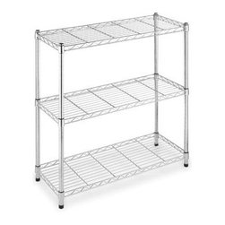 Whitmor - Supreme Wide 3 Tier Shelving - Expand the shelf space in your kitchen  laundry room  basement  bathroom  office or anywhere you need extra storage throughout the house with Whitmor?s Chrome Supreme 3-Tier Shelving Unit. This durable shelf unit is constructed of heavy duty chromed steel featuring shelves that each has a 350 lb. capacity. The adjustable leveling feet add stability on any floor surface. Set up is easy with no tools required. Whitmor?s Supreme shelves carry a 10 year limited warranty.  This item cannot be shipped to APO/FPO addresses. Please accept our apologies.
