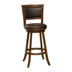 Hillsdale Furniture - Hillsdale Dennery Swivel 24 Inch Counter Height Stool in Cherry - Hillsdale Furniture's stately Dennery stool has a stout base with flared legs. The back, like the seat, is covered in easy to care for vinyl. This handsome stool is available in either a black finish with black vinyl or a cherry finish with brown vinyl. Exuding a warm, rich ambiance and constructed of sturdy hardwood, these stools are a grand addition to any kitchen or home bar area.