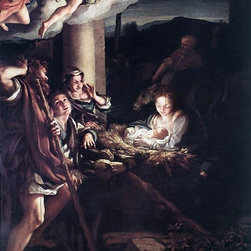 """Correggio  Nativity (Holy Night) - 18"""" x 24"""" Premium Archival Print - 18"""" x 24"""" Correggio  Nativity (Holy Night) premium archival print reproduced to meet museum quality standards. Our museum quality archival prints are produced using high-precision print technology for a more accurate reproduction printed on high quality, heavyweight matte presentation paper with fade-resistant, archival inks. Our progressive business model allows us to offer works of art to you at the best wholesale pricing, significantly less than art gallery prices, affordable to all. This line of artwork is produced with extra white border space (if you choose to have it framed, for your framer to work with to frame properly or utilize a larger mat and/or frame).  We present a comprehensive collection of exceptional art reproductions byCorreggio ."""
