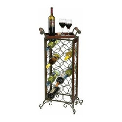 Howard Miller Wine Butler with Removable Serving Tray - Handsome and handy the Howard Miller Wine Butler with Removable Serving Tray is a wrought iron and wood floor-standing wine rack with a removable serving tray. The wrought iron metal wine rack is finished in warm gray and the wooden serving tray has an Americana Cherry finish. The wine rack holds up to 21 bottles at the proper angle for storing wines. This wine butler with serving tray measures 15.5W x 11D x 36H inches. Adjustable levelers under each corner provide stability on uneven and carpeted floors. Some assembly required.The Howard Miller StoryIncomparable workmanship unsurpassed quality and a quest for perfection - these were the cornerstones of the company Howard C. Miller founded back in 1926 at the age of 21. Even then Howard Miller understood the need to create products that would be steeped in quality and value.In 1989 Howard Miller began creating collectors' cabinets with the same attention to detail and craftsmanship inherent in their clock making. Fashioned from glass and hardwoods Howard Miller cabinets are ideal for displaying heirlooms plates glassware and other collectibles.A highly respected brand Howard Miller maintains its popularity because of the company's commitment to quality. Every product manufactured at the company's sprawling facility in Zeeland Michigan undergoes stringent tests and exceeds industry standards to ensure a lifetime of enjoyment.
