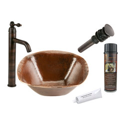 Premier Copper Products - Square Old World Vessel Sink w/ ORB Faucet - PACKAGE INCLUDES: