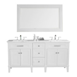 "Stufurhome - 72"" Christine Double Sink Vanity With Travertine Marble Top - The 72"" Christine Double Sink Vanity makes a magnificent centerpiece for larger bathroom spaces. The delicate painted finish, topped by gleaming white marble, is understated yet elegant; while the vanity""s clean lines accentuate its contemporary styling. Three spacious drawers plus shelving offer more than enough storage space for your belongings. An ample-sized mirror in coordinating cream finish completes this eye-catching set."