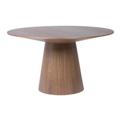 Euro Style - Euro Style Wesley Dining Table 38542WAL-A/38542WAL-B - The shape is reminiscent of a mushroom with a flat top. But in the light of day, it's a grand, round dining table with a warm familiarity. You could spend many wonderful nights at this round table.