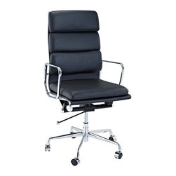 Fine Mod Imports - Eames Style Soft Conference Office Chair High Back Black Leather - The Charles Eames Style Soft Conference Office Chair offers unique design and comfort all in one package, making it a must-have for your contemporary office. Soft Conference Office Chair looks great in the modern office or home based workstation. This contemporary chair is perfect for any office environment.