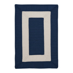 Colonial Mills, Inc. - Indoor/Outdoor Rope Walk, Navy Rug, Sample Swatch - With a bold blue and a powerful print, this rug makes a statement wherever you throw it. And so durable — stain and fade resistant, too — it'll stand up to lots of foot traffic.