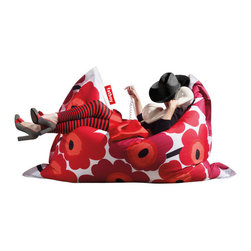 Marimekko Unikko Original Fatboy, Kaivo Red - What's more comfortable than a giant Fatboy pillow? This one with a Marimekko fabric will add tons of color and pattern to any room, and it's perfect for huddling together to watch a movie or even doing homework.