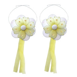 "Bugs-n-Blooms - Flower Tie Backs Yellow Multi-Layered Flowers Tieback Pair Set Decorations - Window Curtains Holder Holders Tie Backs to Decorate for a Baby Nursery Bedroom, Girls Room Wall Decor - 5"" Diameter Pink & White Multi Layered Curtain Tieback Set Daisy Flower 2pc Pair - Beautiful window curtains tie backs for kids room decor, baby decoration, childrens decorations. Ideal for Baby Nursery Kids Bedroom Girls Room.  This gorgeous daisy flower tieback set has mutli layered petals, sequins, and glitter. This pretty daisy flower decoration is made with a soft bendable wire frame & have color match trails of organza ribbons. Has 2 adjustable wires to wrap around the curtains; or simply remove & add your own ribbon for a personal & custom look.  Visit our store for more great items. Additional styles are available in various colors, please see store for details. Please visit our store on 'How To Hang' for tips and suggestions. Please note: Sizes are approximate and are handmade and variances may occur. Price is for one pair (2 piece)"