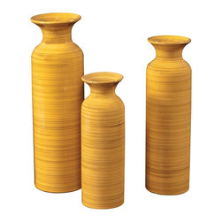 Howard Elliott - Canary Yellow with Striped Accents Glazed Ceramic Vases - This set of 3 glazed ceramic vases are finished in a canary yellow with striped accents.