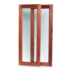 John Louis Home - John Louis Home Red Mahogany Tower Door Kit - Crafted with a combination of solid wood and fluted glass, and accented with satin nickel door handles, the Tower Door accessory add-on hides shelf contents while providing that additional style to your John Louis Home Tower.