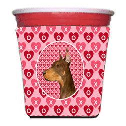 Caroline's Treasures - Doberman Red Solo Cup Hugger - Fits red solo cup or large Dunkin Donuts / Starbucks ice coffee cup. Collapsible Foam. (16 oz. to 22 oz. Red solo cup) Toby Keith made the cups more popular with his song. We make them nicer to carry around. The top of the cup is still exposed to add your name with a marker too. Permanently dyed and fade resistant design. Great to keep track of your beverage and add a bit of flair to a gathering. Match with one of the insulated coolers or coasters for a nice gift pack. Wash the hugger in your dishwasher or clothes washer. Design will not come off.