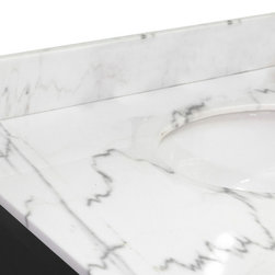 "Bellaterra Home - Backsplash-white marble-60"" - genuine white marble"