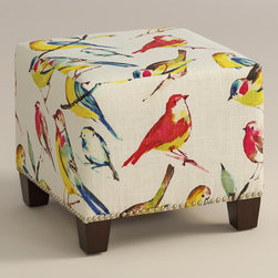 "World Market - Bird Watcher McKenzie Ottoman - Cozy up with our custom-made Bird Watcher McKenzie Ottoman, handcrafted in the U.S.A. with linen blend upholstery and nail head trim. Showcasing a cheery songbird motif in eye-catching hues, this plush ottoman makes a bold statement. Pair two ottomans for a dramatic ""bench"" at the foot of the bed. Shop our coordinating bed or headboard in the same custom fabric for a pulled together look."