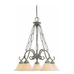 Volume Lighting - Volume Lighting V2695 Esmeralda 5 Light 1 Tier Chandelier - Five Light 1 Tier Chandelier from the Esmeralda CollectionMarvelous and grand, this 5 light chandelier features 1 tier, sparkling scavo glass, and a classic platinum rust finish.Features: