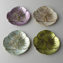 "Horchow - Four Floral Dessert/Canape Plates - Luminescent, pansy-shaped plates bring the freshness of spring to table settings—whatever the season. Handcrafted of spun glass with metallic gilding. Hand wash. Set of four includes one of each color shown; each, 6.75""Dia. Imported."