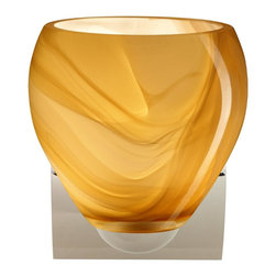Besa Lighting - Besa Lighting 1WZ-4122HN-CR Bolla Honey Chrome One Light Wall Sconce - The Bolla is a compact handcrafted glass, softly radiused to fit gracefully into contemporary spaces. This unique dEcor is handcrafted, with layered swirls of yellow-amber and golden-brown against white, finished to a high gloss. It's classic swirl pattern and high gloss surface has a truly florid gleam. Honey is a hand-blown glass designed to have a shiny and polished finish. The glass is gathered and rolled into shape a unique pattern is formed that cannot be replicated. This blown glass is handcrafted by a skilled artisan, utilizing century-old techniques passed down from generation to generation. Each piece of this dEcor has its own unique artistic nature that can be individually appreciated. The minisconce fixture is equipped with a sleek arcing diecast lampholder and matching radiused rectangular canopy. These stylish and functional luminaries are offered in a beautiful Chrome finish.