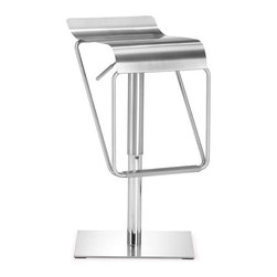 ZUO - Dazzer Barstool - A sleek waterfall of stainless steel gives the durable Dazzer Barstool effortless style. Fall in love with the curvaceous seat and sturdy base. Height adjustable.